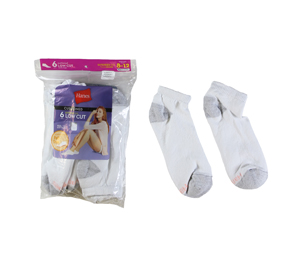 RGRiley | Hanes Womens White Footie Socks | Irregular